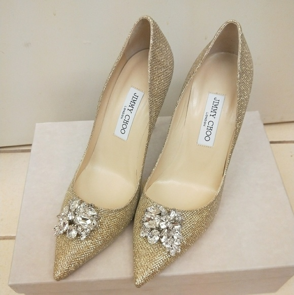 03b12a4997fe Jimmy Choo Gold Mamey Glitter Crystal pumps